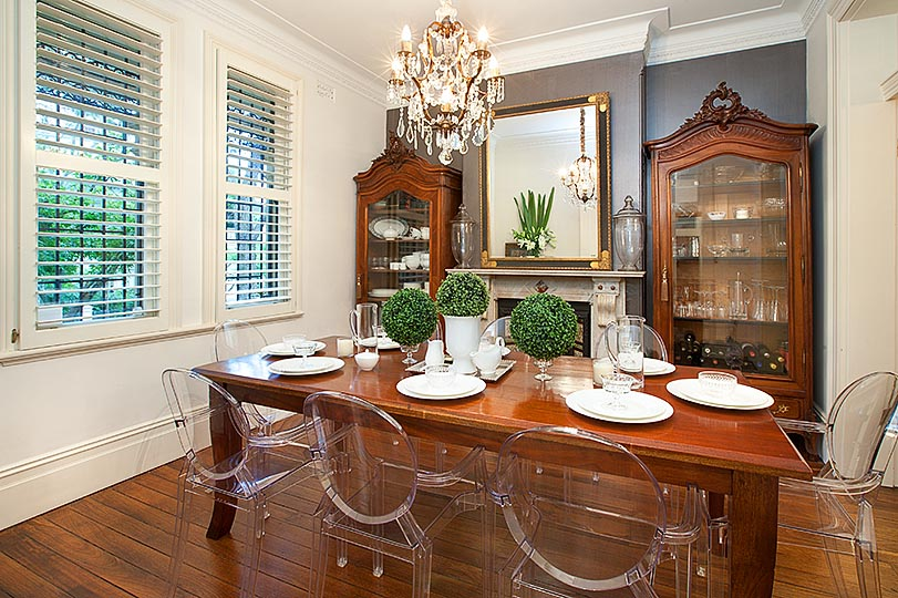 dining room with ghist chairs